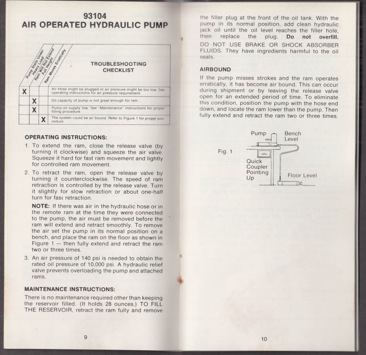 Walker Hydraulic Jack Troubleshooting Pocket Guide 1978