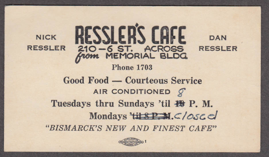 Ressler's Café 210 6th Bismarck ND card ca 1940s