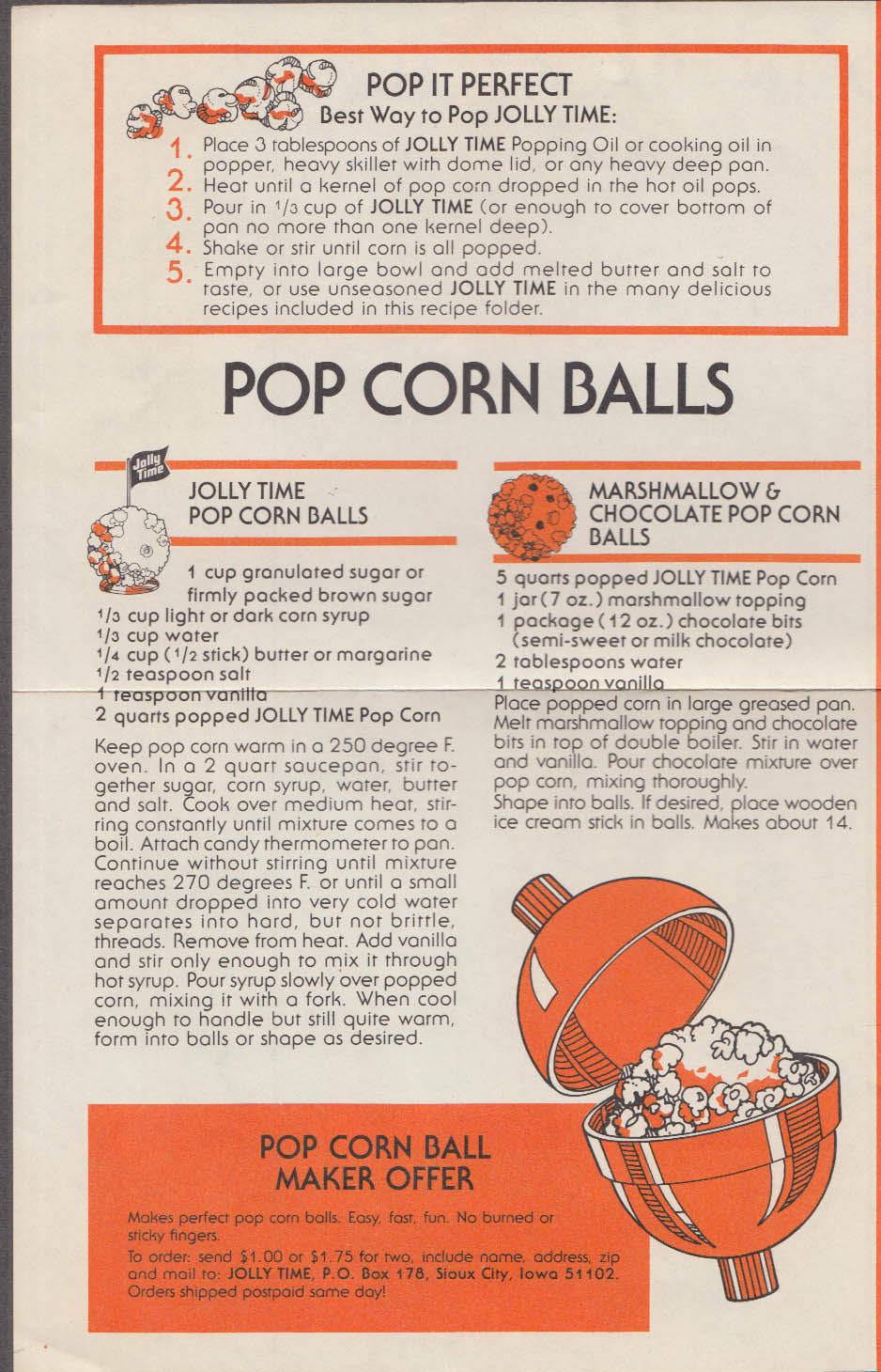Jolly Time Favorite Popcorn Recipes folder mailer 1960s