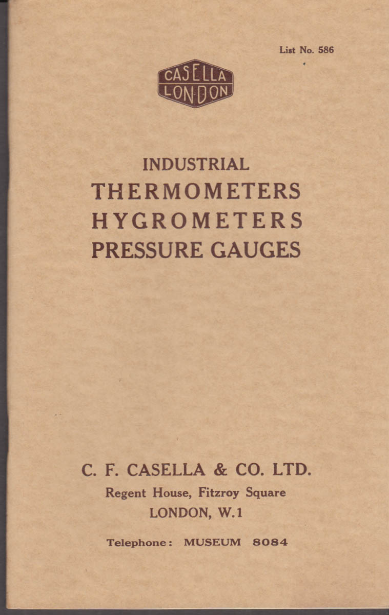Casella London Industrial Thermometers Hygrometers Pressure Gauges catalog