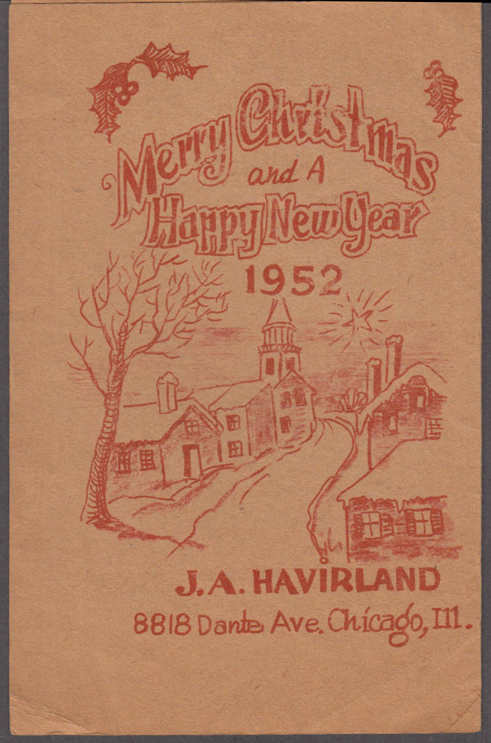 Circus Historian J A Havirland Christmas Card 1952 Chicago IL