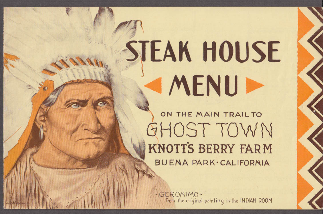 Knott's Berry Farm Ghost Town Grille Menu booklet ca 1940s