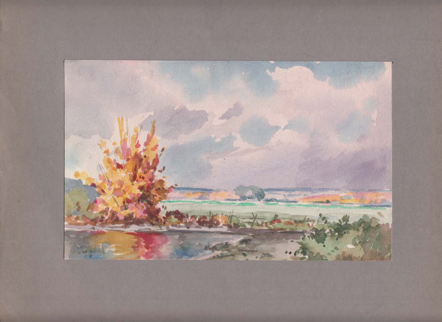 Image for Arthur S Douglas original watercolor Fall view along the Pawtuxet River ca 1930s
