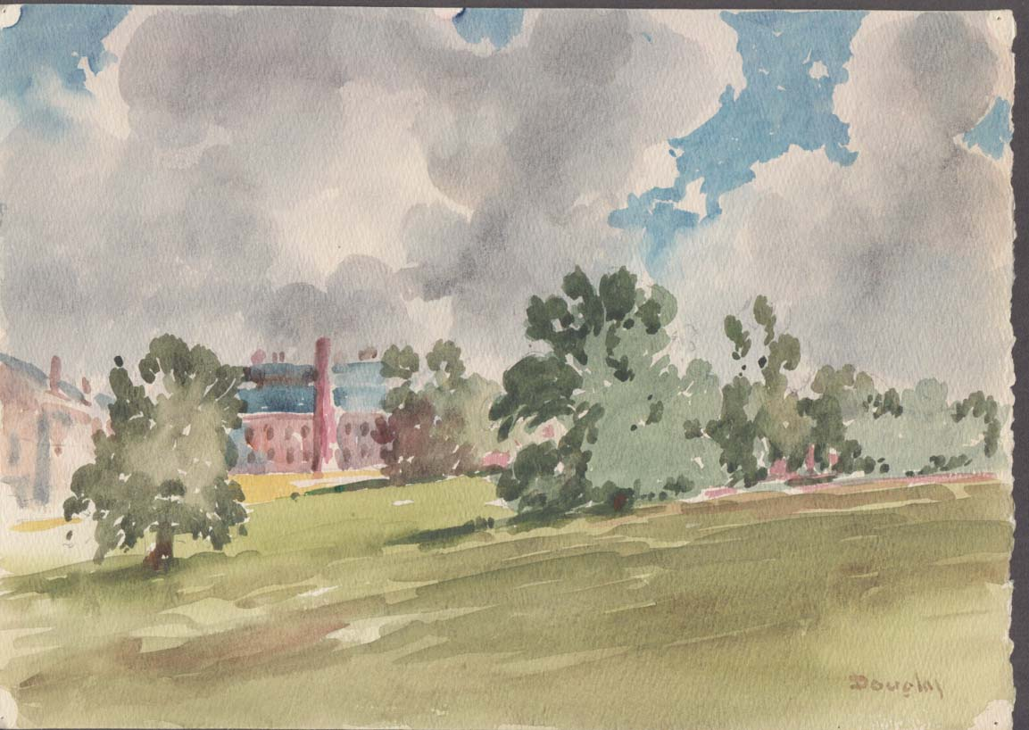 Arthur S Douglas original watercolor View of a school across the field ca 1930s