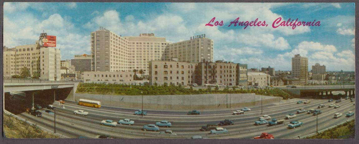 Harbor Freeway & Statler Hotel Los Angeles long postcard ca 1957
