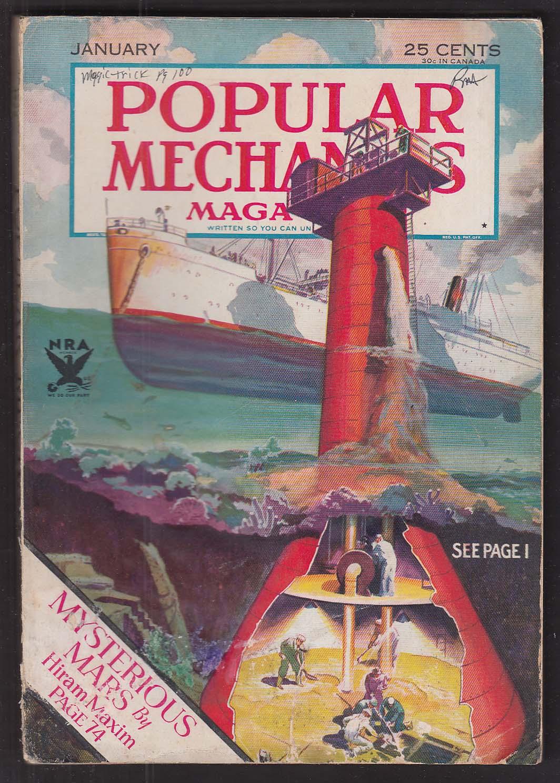 POPULAR MECHANICS Hiram Maxim La Lutine Gold Microbes Radio Lighthouse + 1 1934