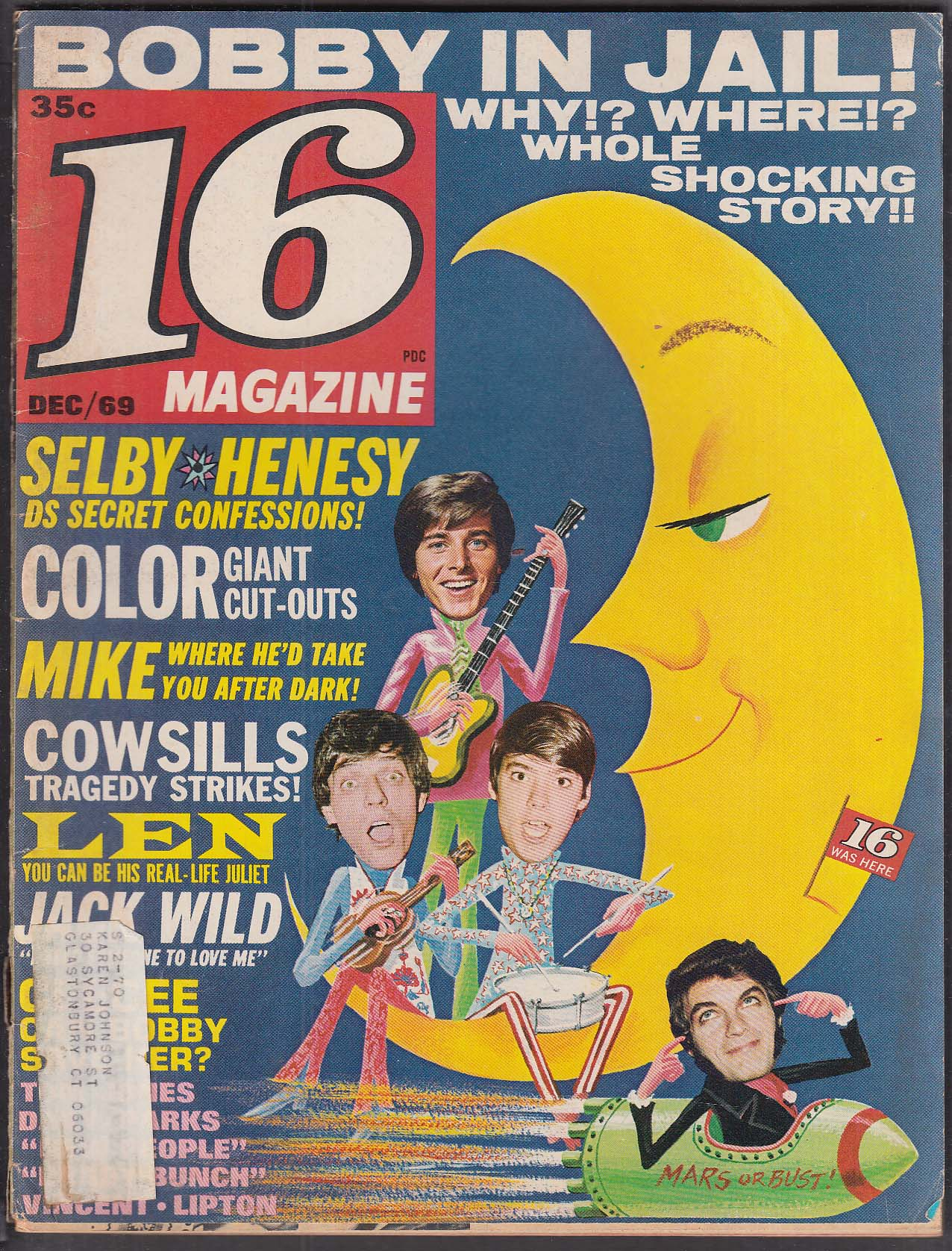 16 Bobby Sherman Desi Arnaz Mike Cole Davy Jones Cowsills 12 1969