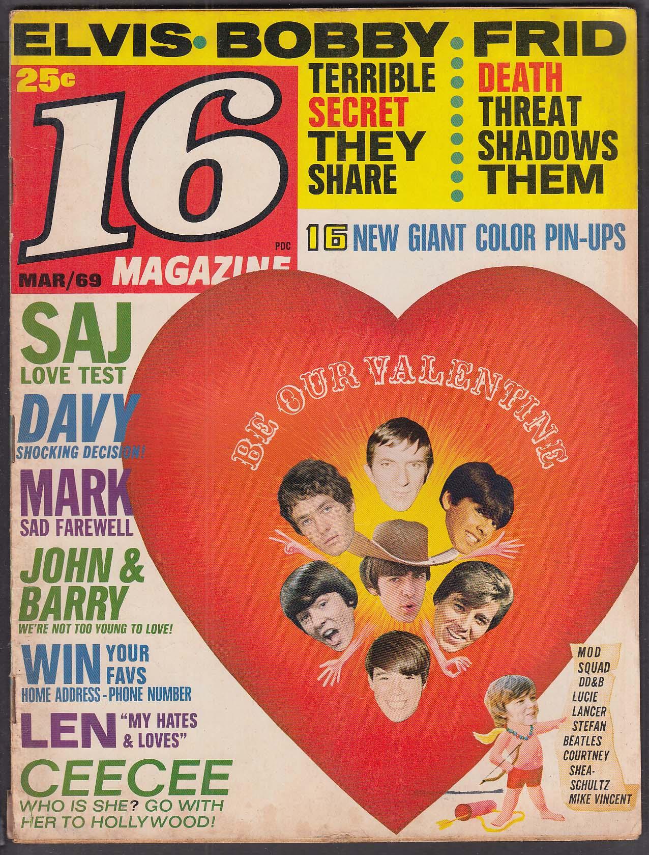 16 Elvis Bobby Sherman Frid Saj Davy Jones Monkees Beatles + 3 1969