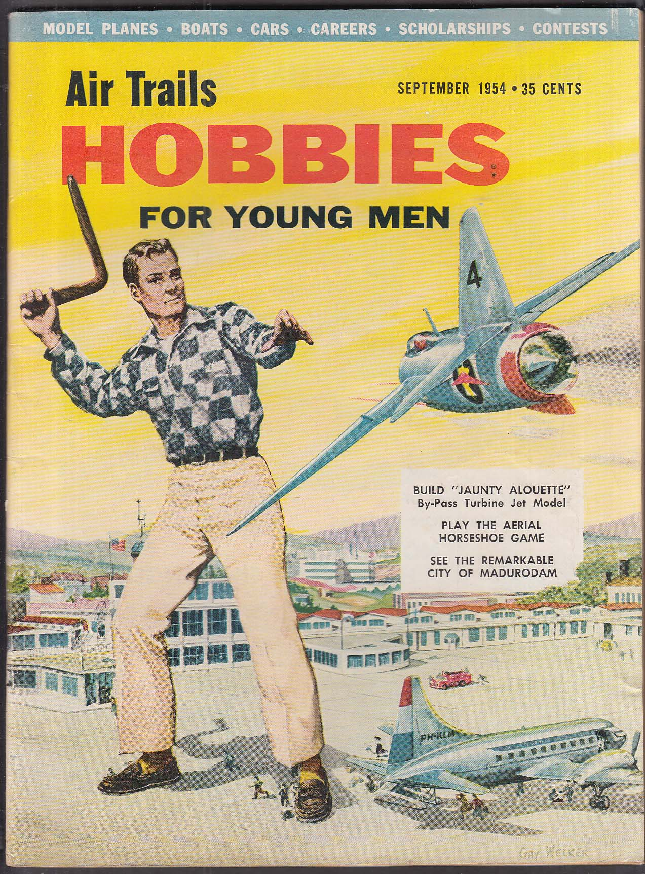 Air Trails HOBBIES for Young Men Macchi Saetta Lockheed XFV-1 Alouette + 9 1954