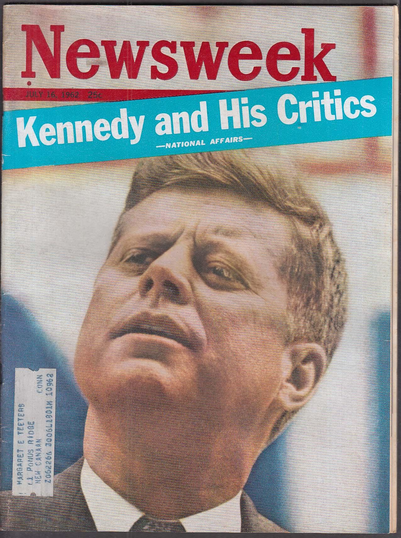 NEWSWEEK Kennedy JFK KKK vs NAACP Tshombe Fidel Castro 7/16 1962