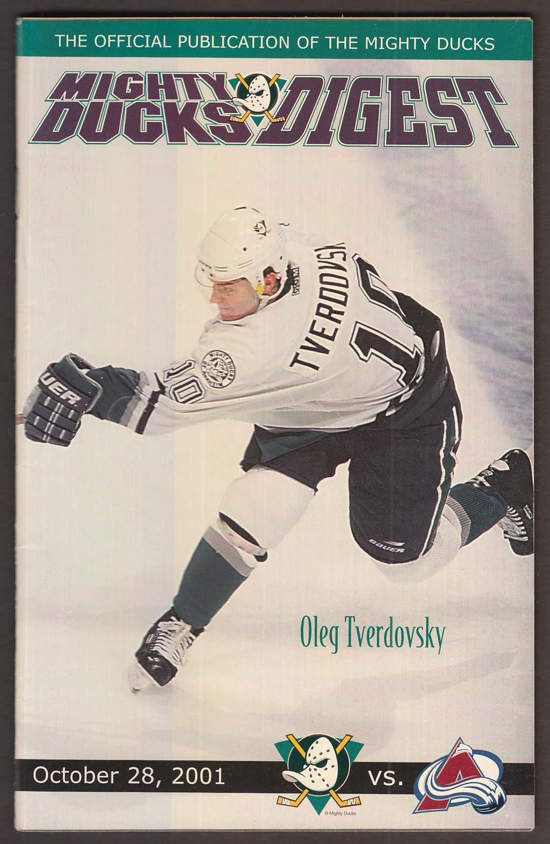 MIGHTY DUCKS DIGEST Oleg Tverdovsky ++ 10/28 2001