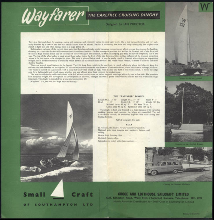 Croce & Lofthouse Sailcraft Wayfarer Cruising Dinghy sellsheet & price list 1964