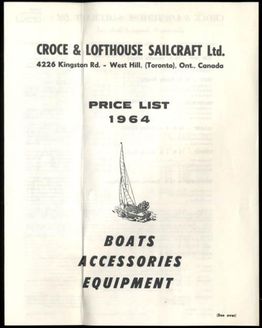 Croce & Lofthouse Sailcraft Wayfarer Cruising Dinghy sellsheet & price list 1964