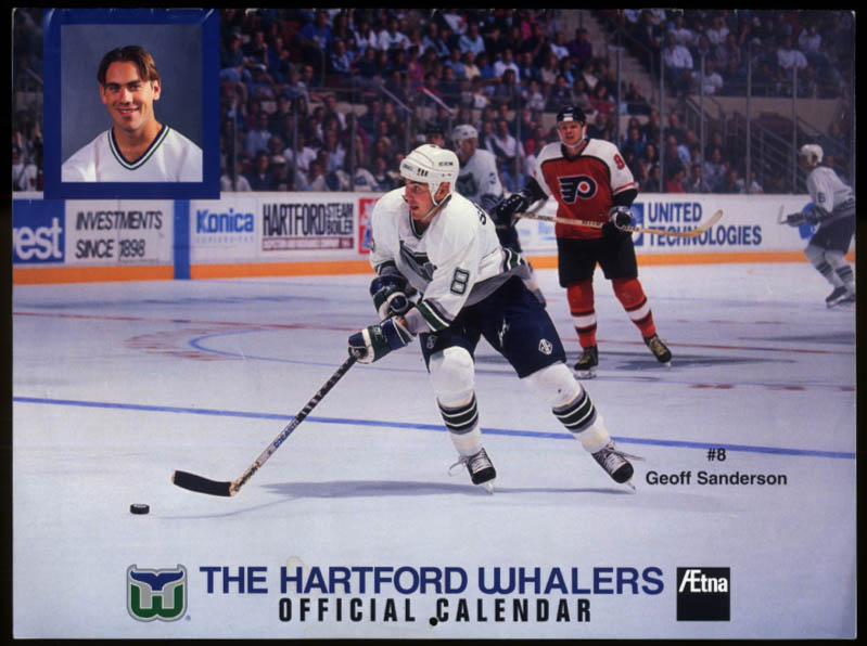 1995 Hartford Whalers Official Calendar unmarked
