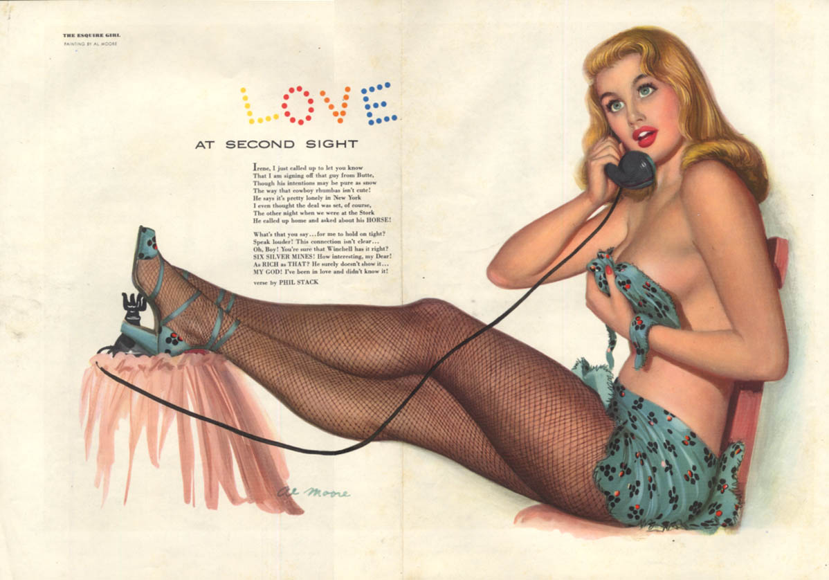 Al Moore Esquire pin-up Love at Second Sight blonde holding top on phone 11 1949