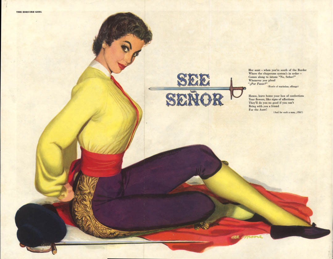 Al Moore Esquire pin-up See Senor girl in toreador outfit & sword 7 1951