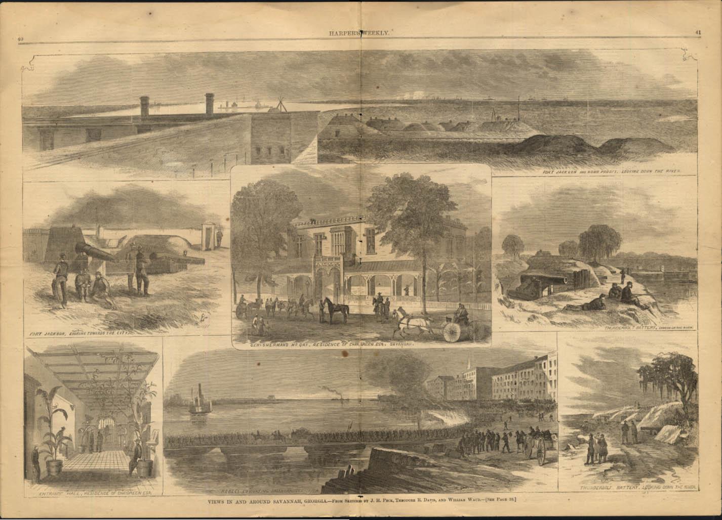 Image for Views around Savannah Georgia Harper's Weekly spread 1/21 1865