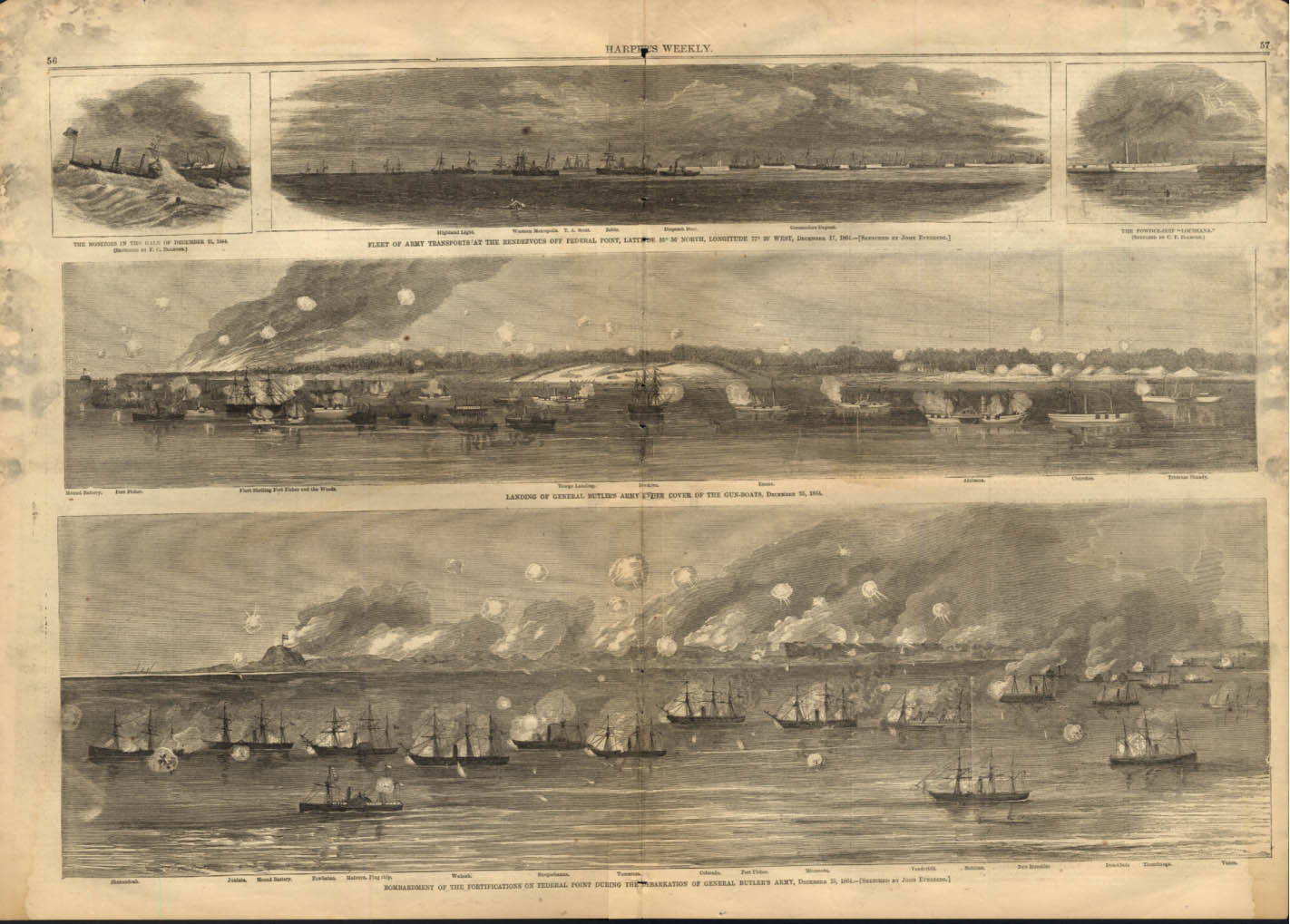 Gen Butler's Invasion at Federal Point NC 1864 Harper's Weekly spread 1/28 1865