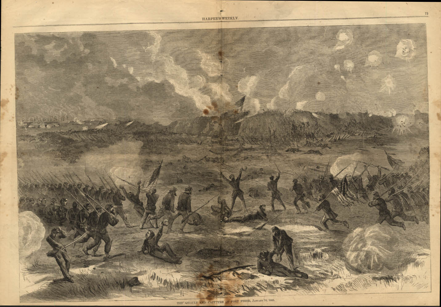 Assault & Capture of Fort Fisher Federal Point NC Harper's Weekly spread 1865