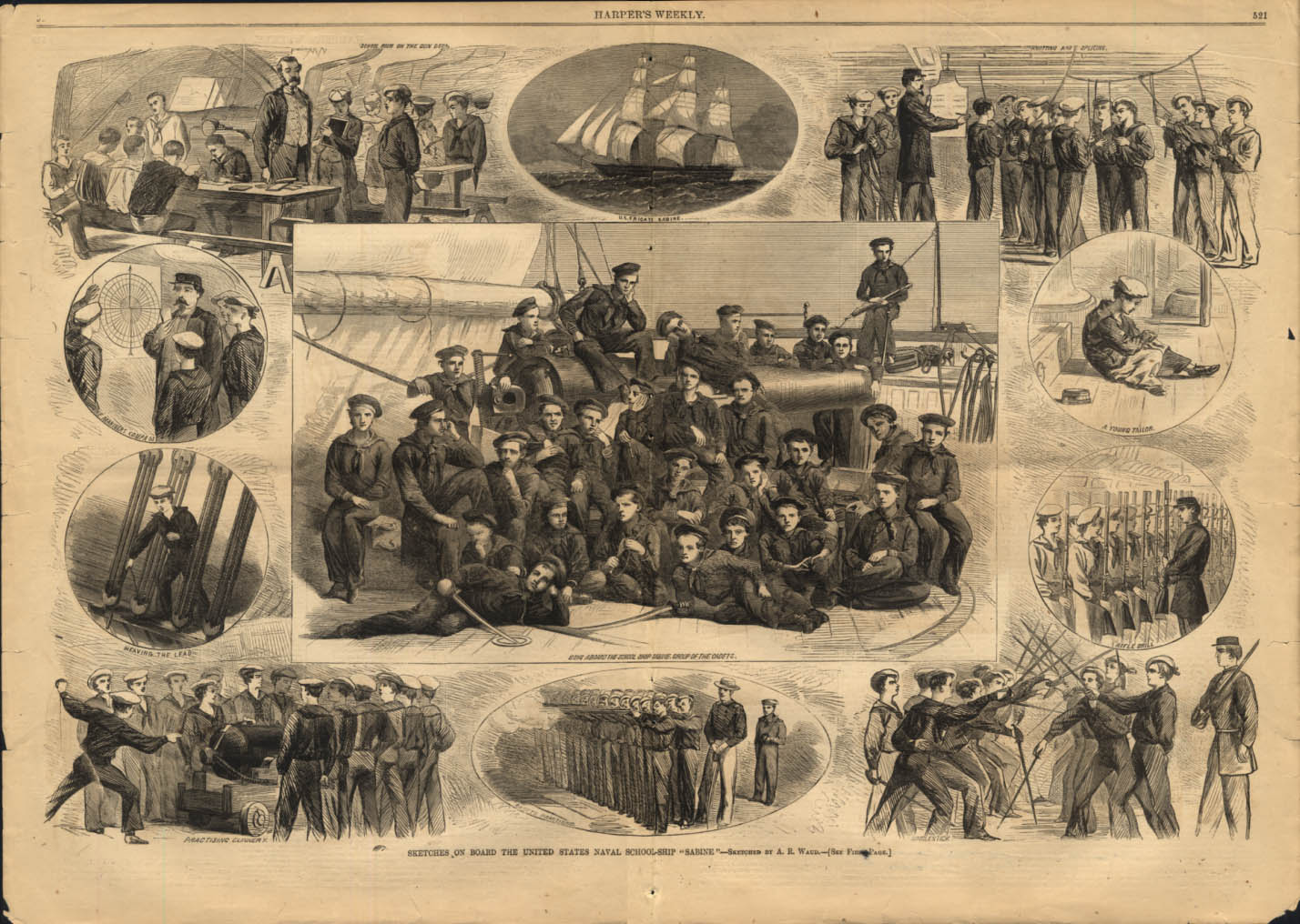 Image for Sketches aboard US Naval School-Ship Sabine by Waud Harper's Weekly 1865