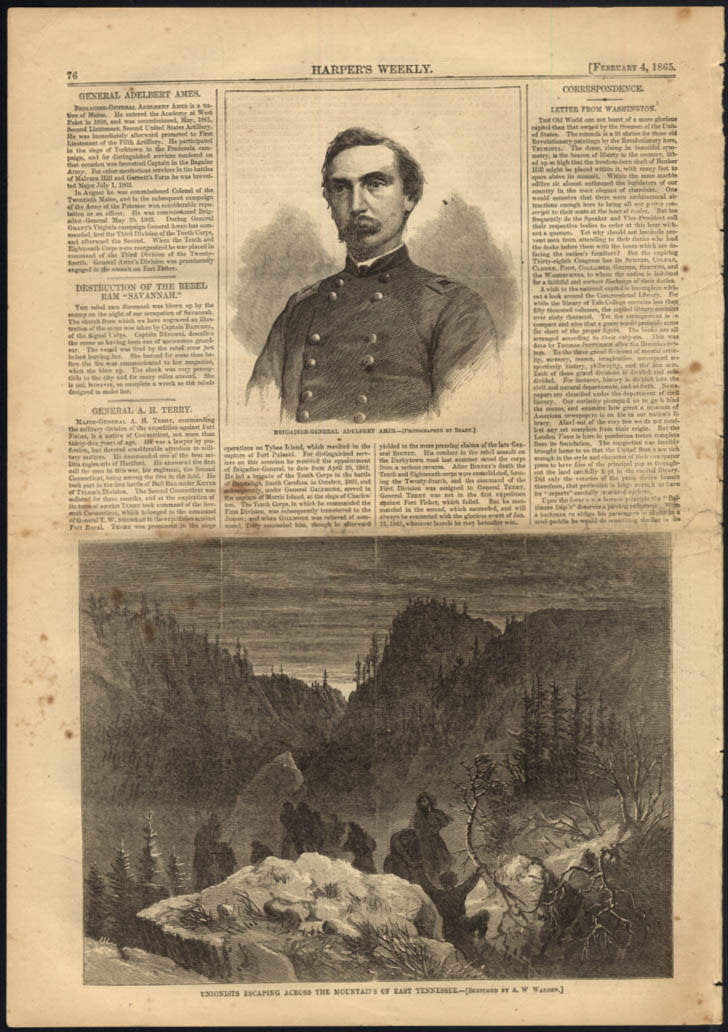 Gen Adelbert Ames by Mathew Brady / Unionists escape E Tennessee Harper's 1865