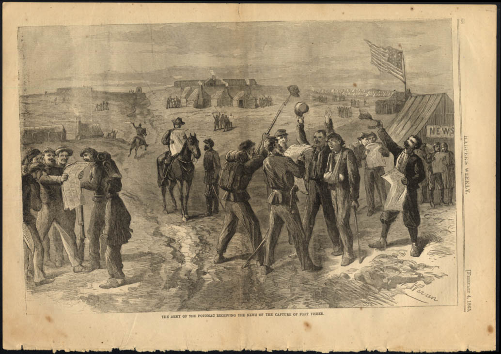 Army of Potomac learns of Fort Fisher Capture Harper's Weekly 1865
