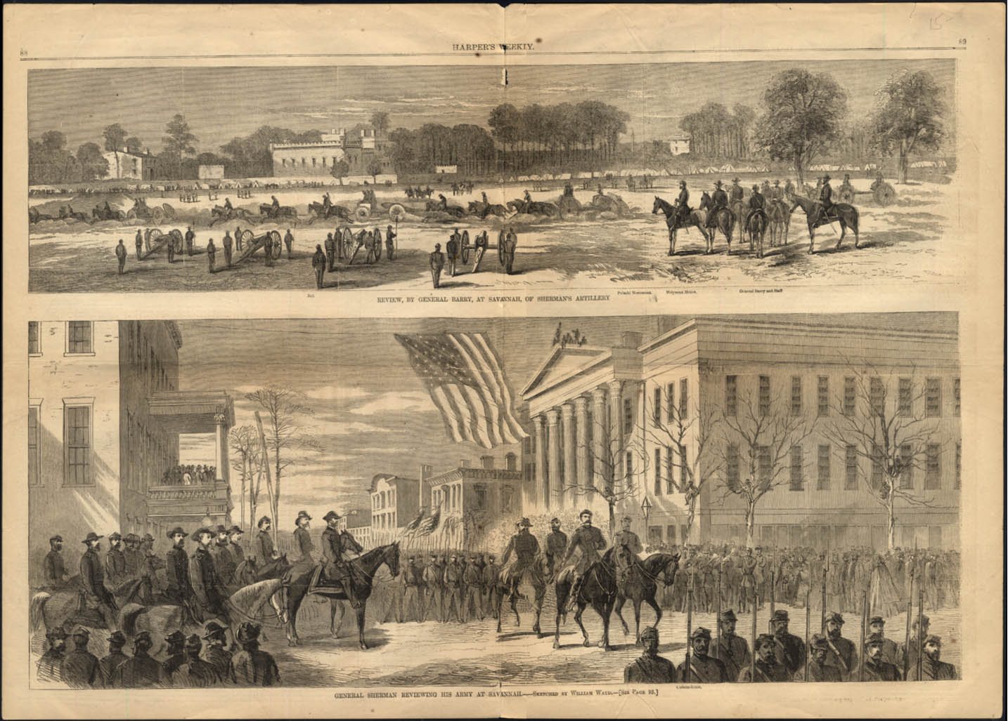 Gen Barry & Gen Sherman Review Troops at Savannah 1865
