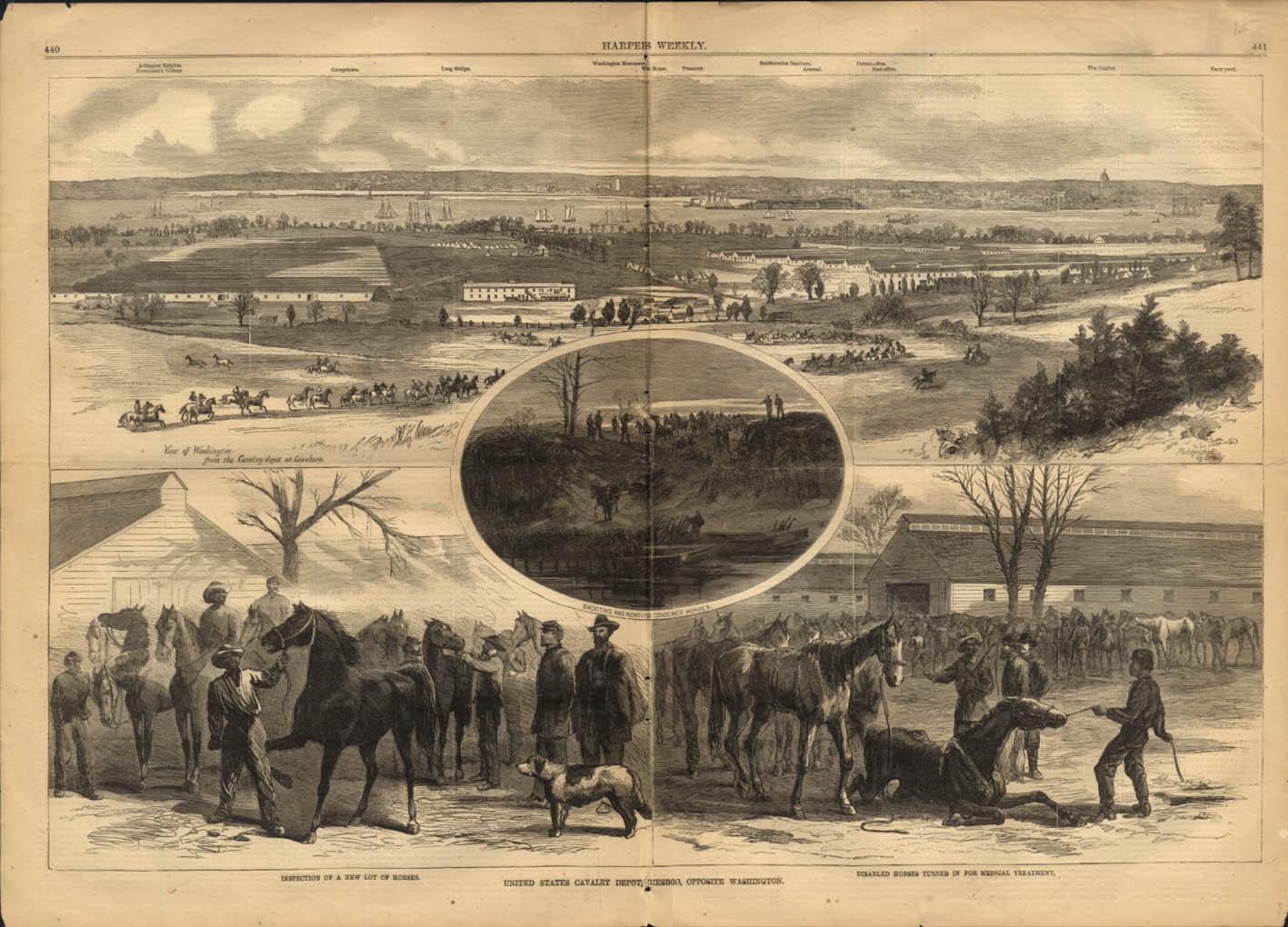 Image for U S Cavalry Depot Giesboro Washington DC Harper's Weekly spread 1865