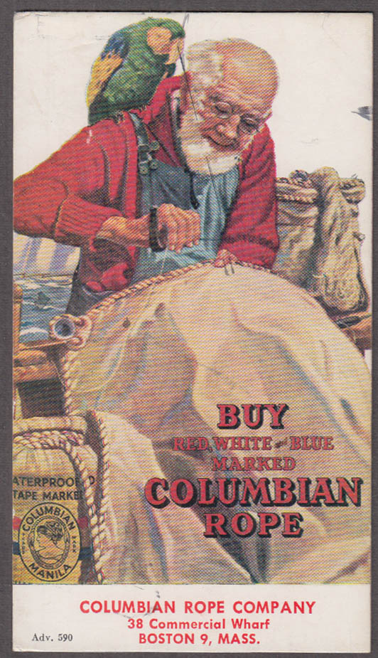Red White & Blue Marked Columbian Rope advertising blotter 1930s