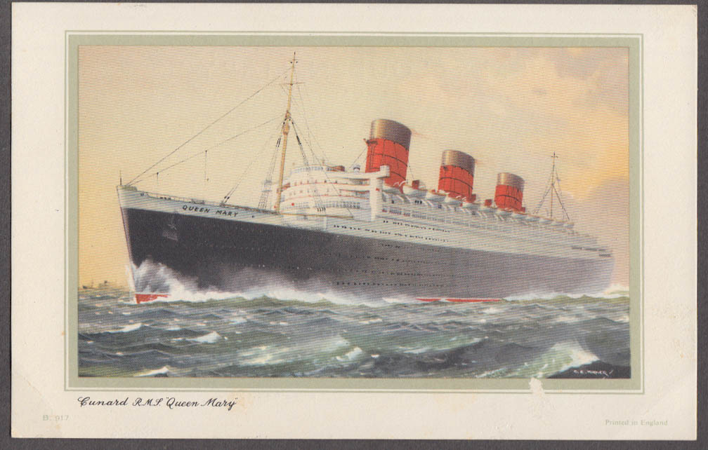 Cunard R M S Queen Mary Abstract of Log NY-Southampton 4/8 - 4/13 1959