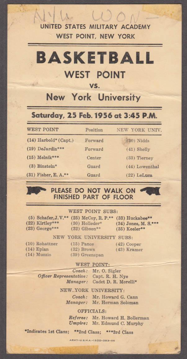 Image for West Point USMA vs NYU Basketball scorecard 1956