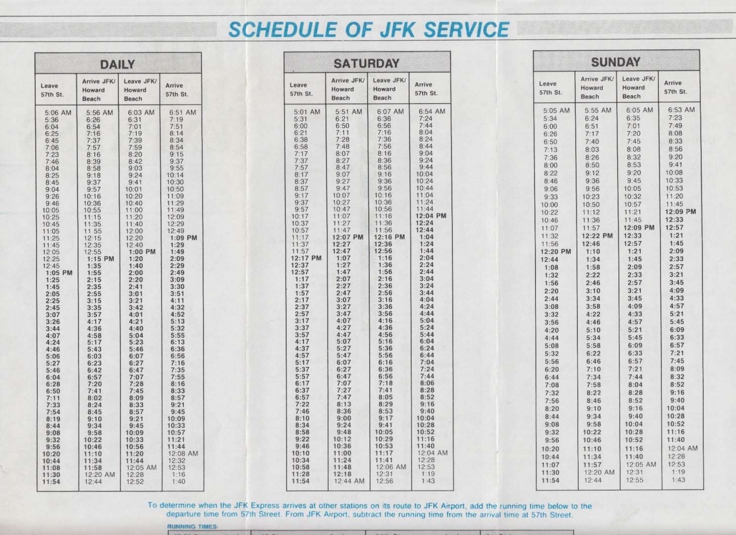 The JFK Express Transit Schedule JFK-NYC ca 1980s timetable