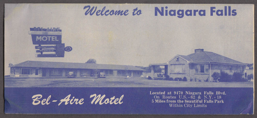 Bel-Aire Motel Welcome to Niuagara Falls folder & panorama 1950s