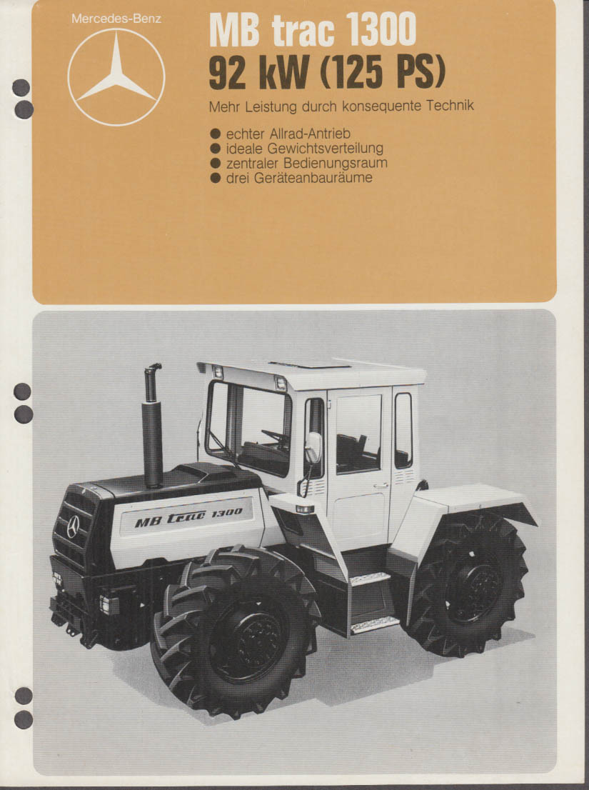 1976 Mercedes-Benz MB Trac 1300 Tractor sell sheet