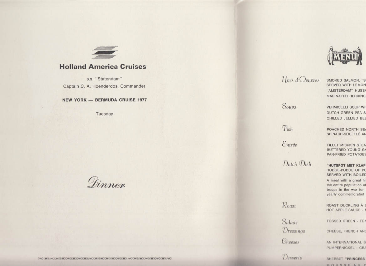 Holland America Bermuda Cruise S S Statendam Dinner Menu Tuesday 1977