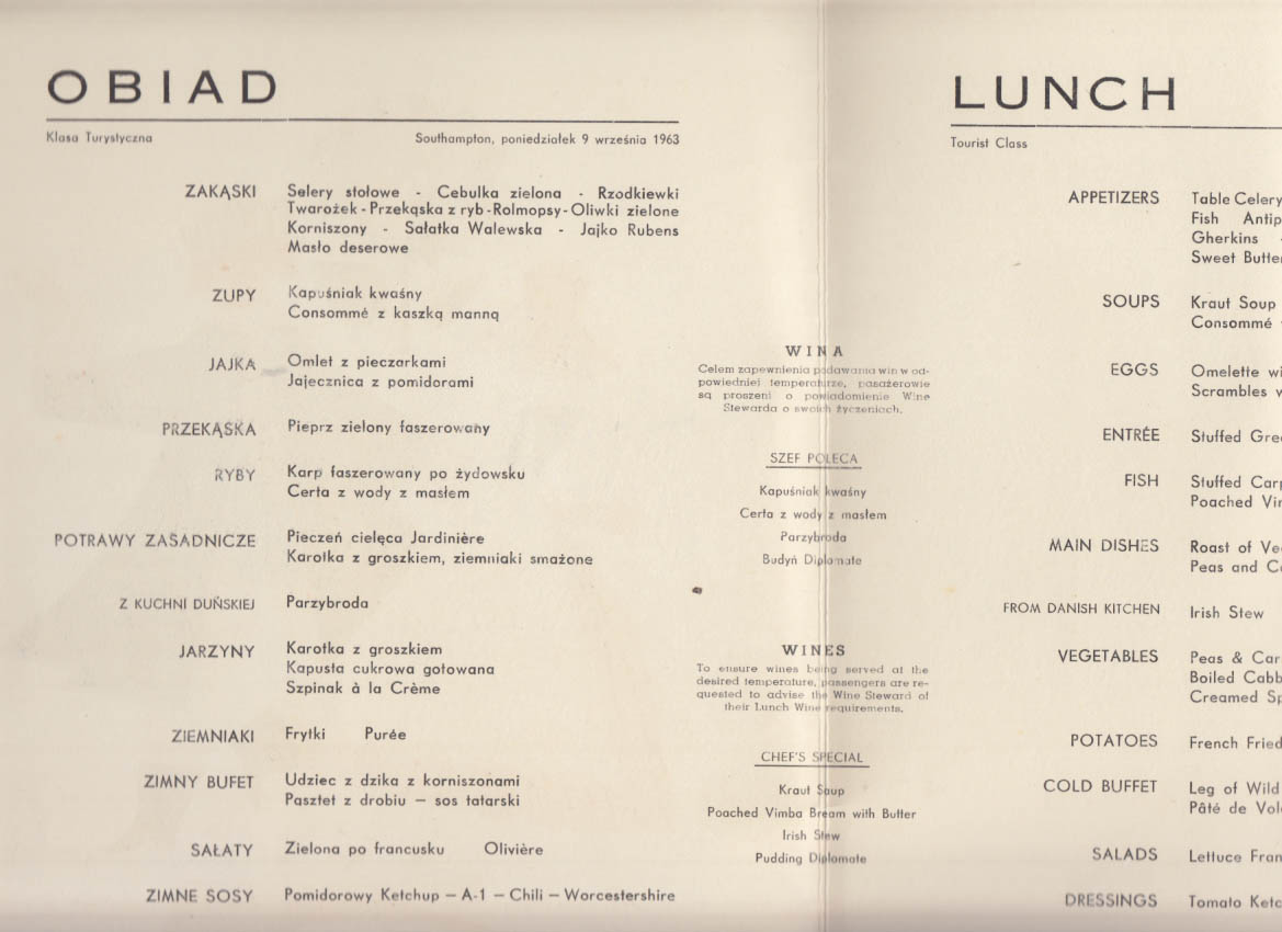 Polish Ocean Lines Gdynia America M S Batory Lunch menu 9/9 1963