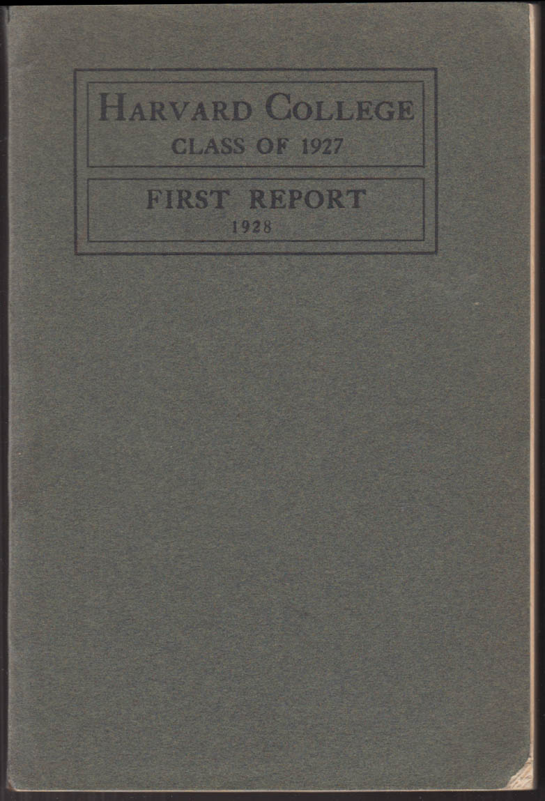 Harvard College Class of 1927 First Report 1928