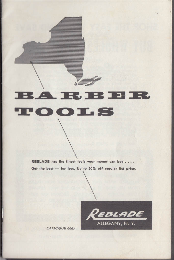 Reblade Barber Tools Catalog 1966 scissors razors trimmers combs Allegany NY