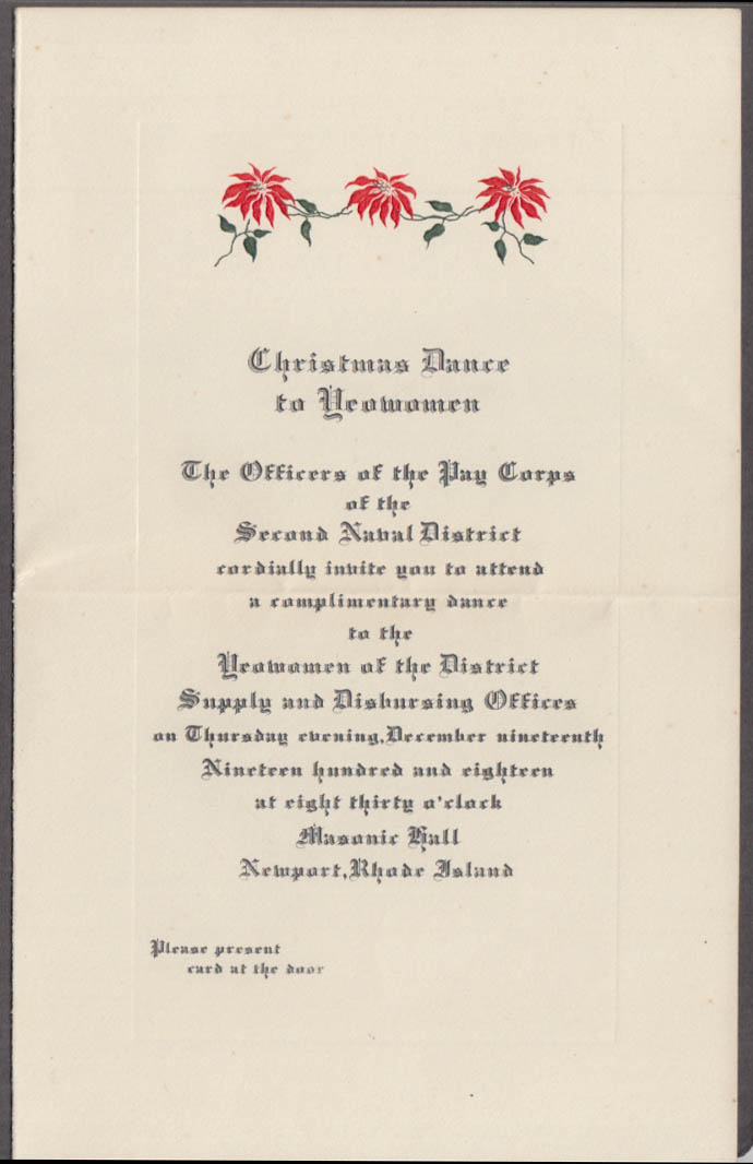 2nd Naval District Pay Corps Yeowomen Christmas Dance Invitation Newport RI 1918