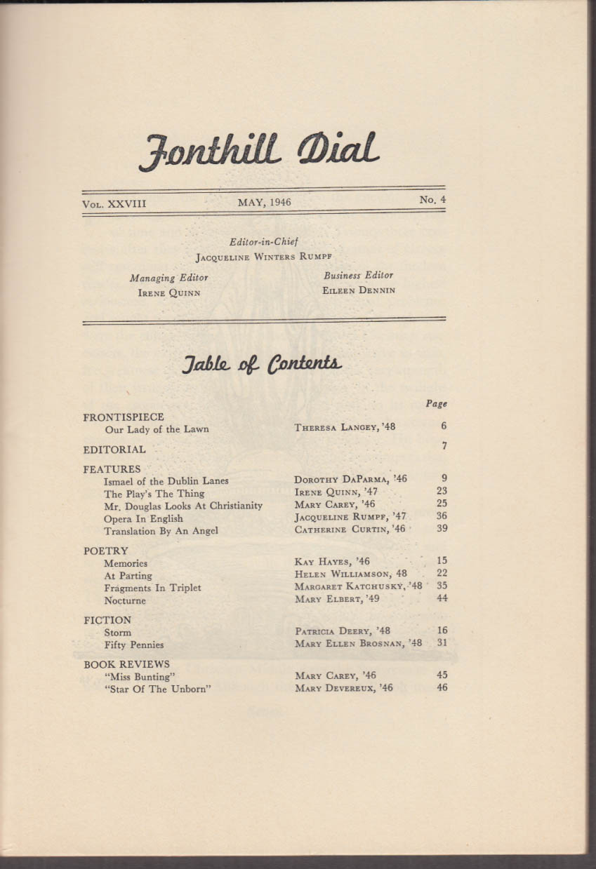 College of Mt Saint Vincent FONTHILL DIAL 5 1946 literary magazine