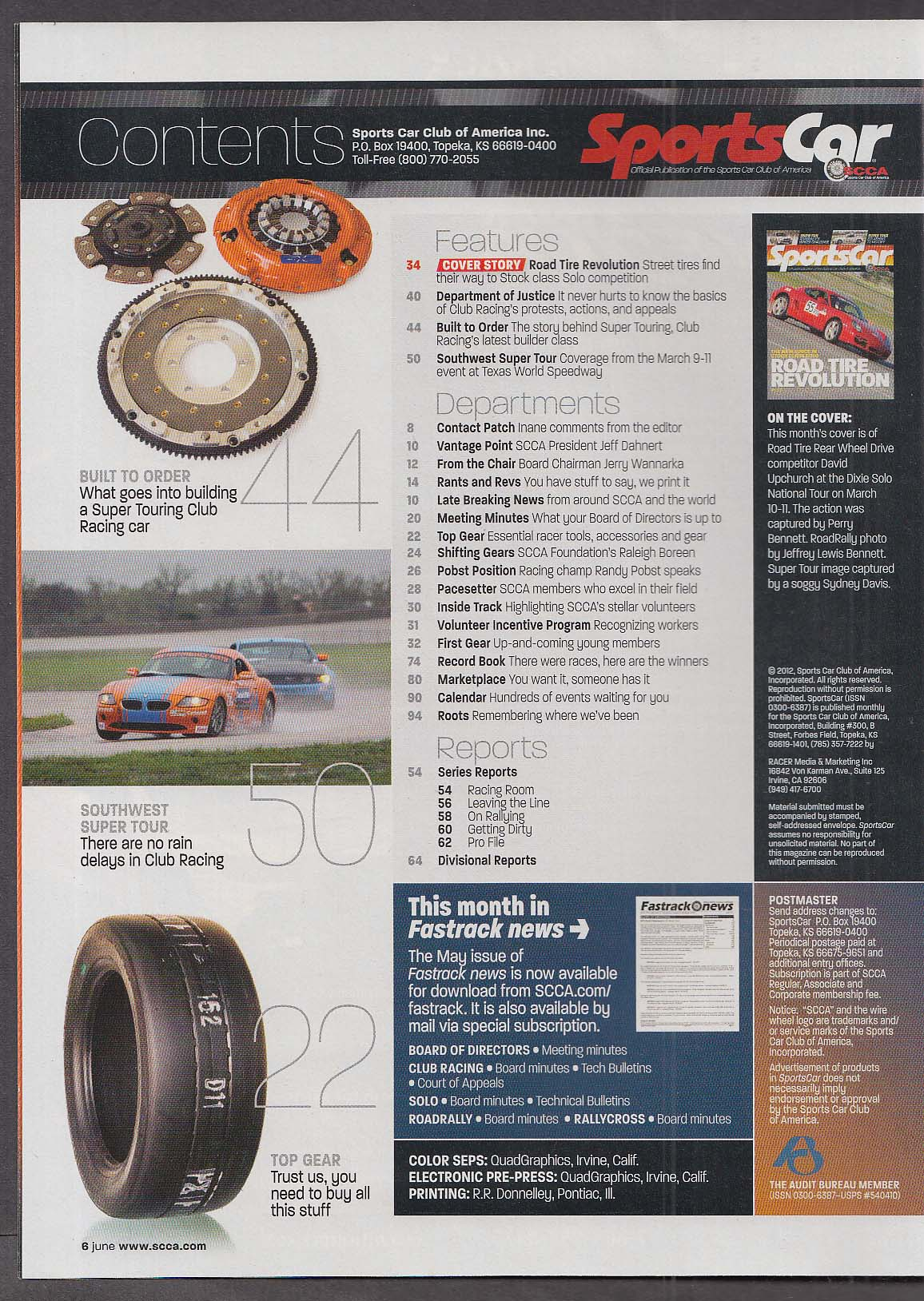 SCCA SPORTS CAR David Upchurch Road Tire Revolution Southwestern Super 6 2012