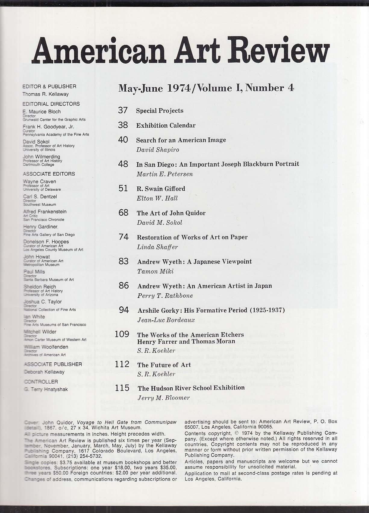 AMERICAN ART REVIEW John Quidor Andrew Wyeth Arshile Gorky ++ 5-6 1974