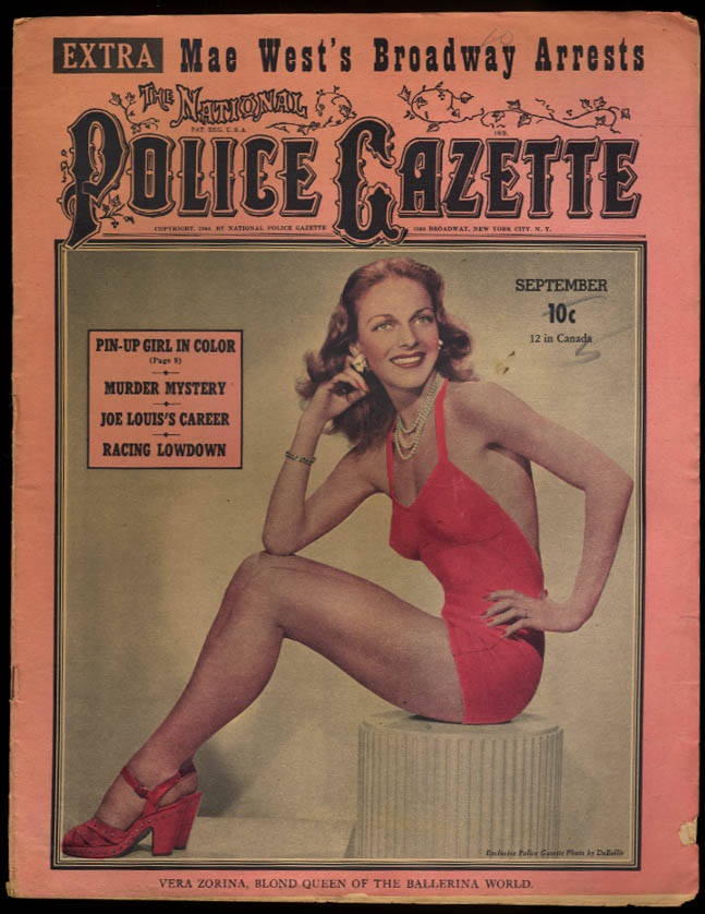 POLICE GAZETTE 9 1944 Mae West Zorina Jean Parker Joe Louis Joe Cronin Don Meade