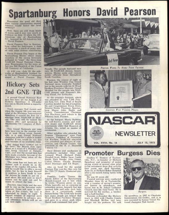 NASCAR NEWSLETTER 7/15 1973 David Pearson Volunteer 500 Travis Carter