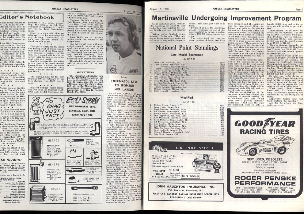 NASCAR NEWSLETTER 8/15 1973 Ron Bouchard Mel Larson Martinsville upgrade