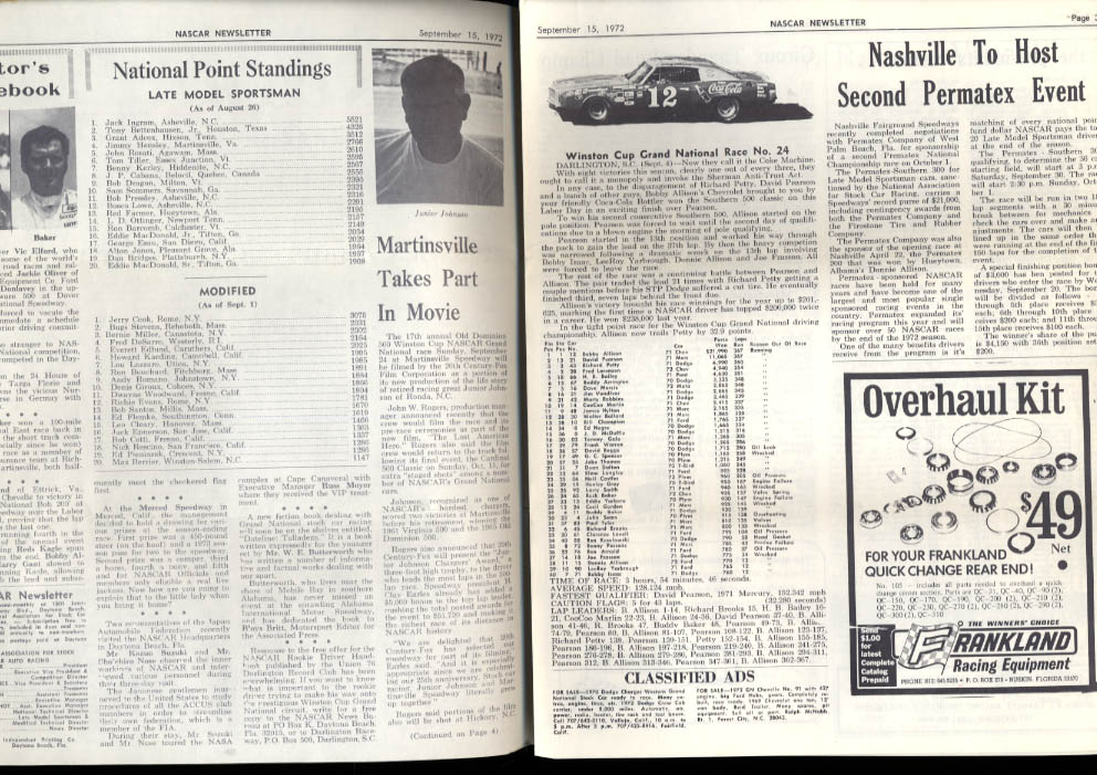 NASCAR NEWSLETTER 9/15 1972 Soapy Castles GNE Champ Southern 500