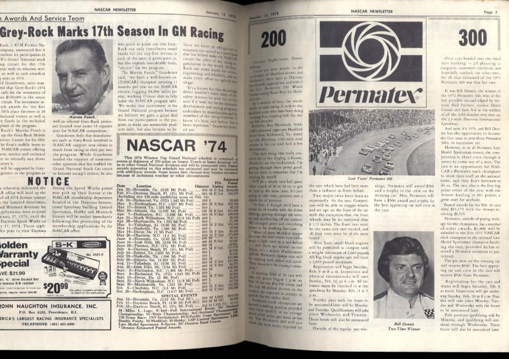 NASCAR NEWSLETTER 1/15 1974 Permatex 200 300 prevue Bobby Allison