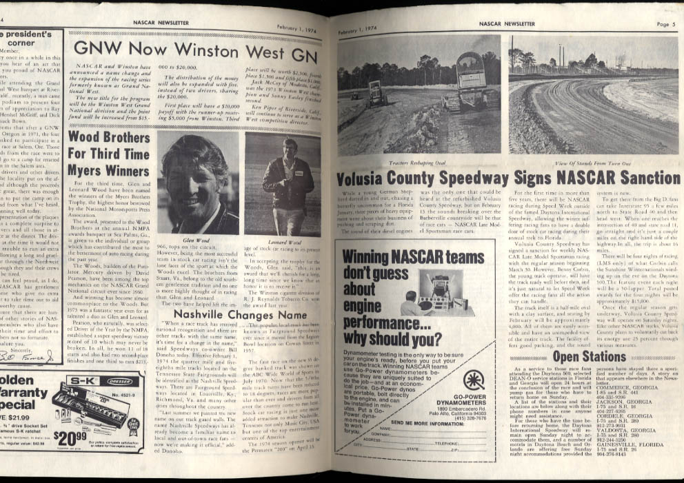 NASCAR NEWSLETTER 2/1 1974 David Pearson Driver of Year Wood Brothers