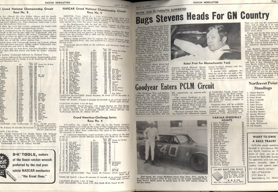 NASCAR NEWSLETTER 4/15 1970 Tiny Lund Jimmy Crawford Bugs Stevens Perk Brown
