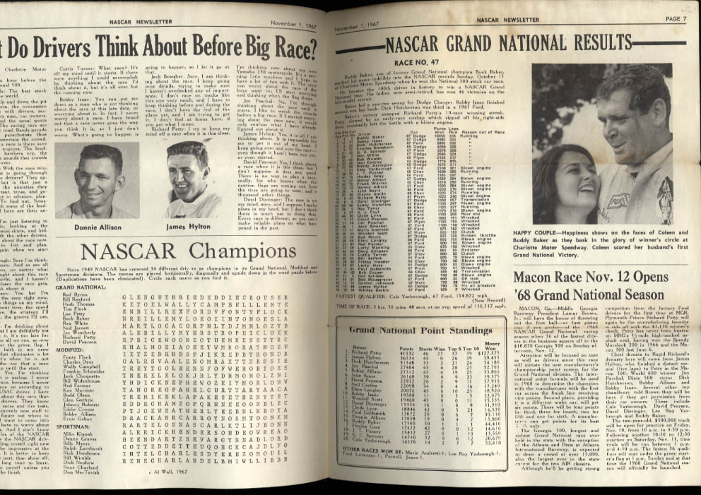 NASCAR NEWSLETTER 11/1 1967 Mechanic Ray Fox Donnie Allison James Hylton